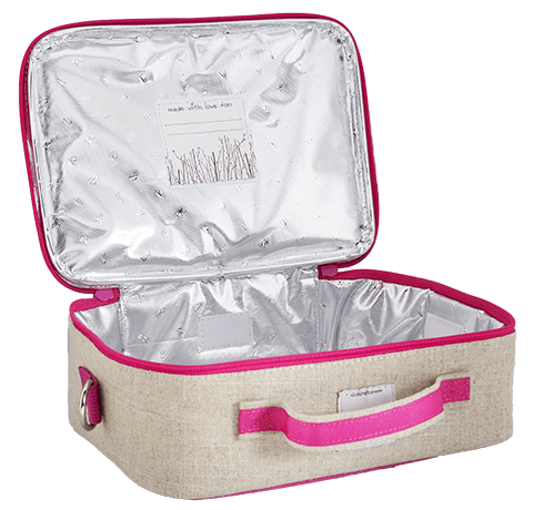 SoYoung Raw Linen Lunch Box - Pink Birds Open