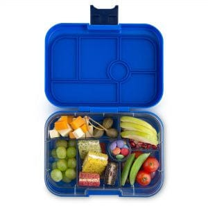 Yumbox Original 6-Compartment Food Tray - Neptune Blue Open with Food