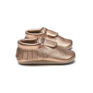 Heyfolks Fringed Soft Sole Shoe - Rose Gold Side