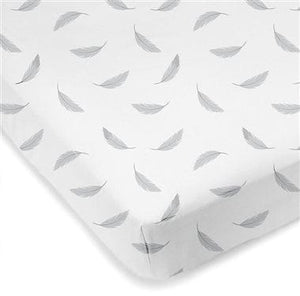 Grey Feathers - Kushies Flannel Mini Crib Sheet