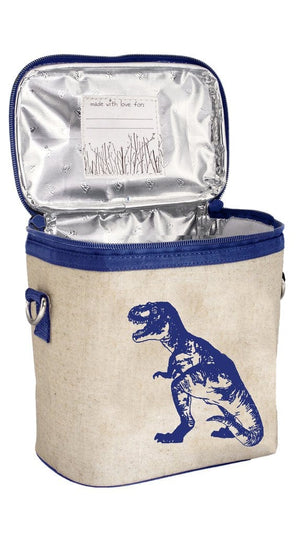 SoYoung Raw Linen Small Cooler Bag - Blue Dino Back