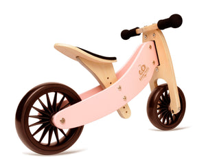 Kinderfeets Tiny Tot PLUS Tricycle/Balance Bike - Rose 2 Wheel