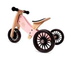 Kinderfeets Tiny Tot PLUS Tricycle/Balance Bike - Rose