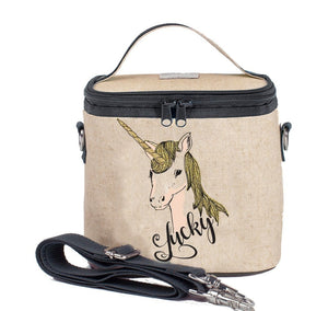 SoYoung Raw Linen Small Cooler Bag - Lucky Unicorn