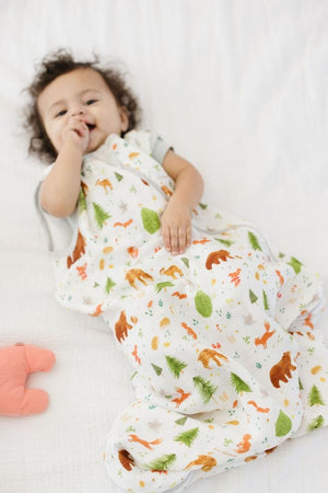 Loulou Lollipop Muslin Sleep Sack 1.0 TOG - Forest Friends - lying down bag