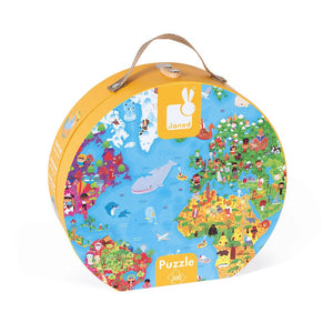 Janod World Puzzle with Carrying Case