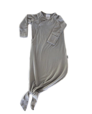 Little Fern Apparel Knotted Infant Gown - Grey Flint