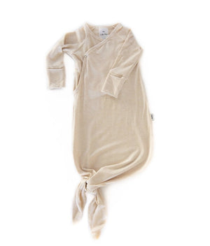 Little Fern Apparel Knotted Infant Gown - Heather Almond
