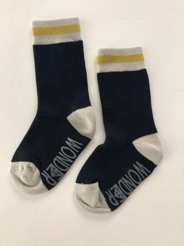 Reckless Wonder Classic Cabin Socks - Navy/Mustard Stripe