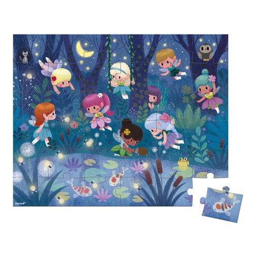 Janod Cardboard Puzzle with Carrying Case - Fairies and Waterlilies