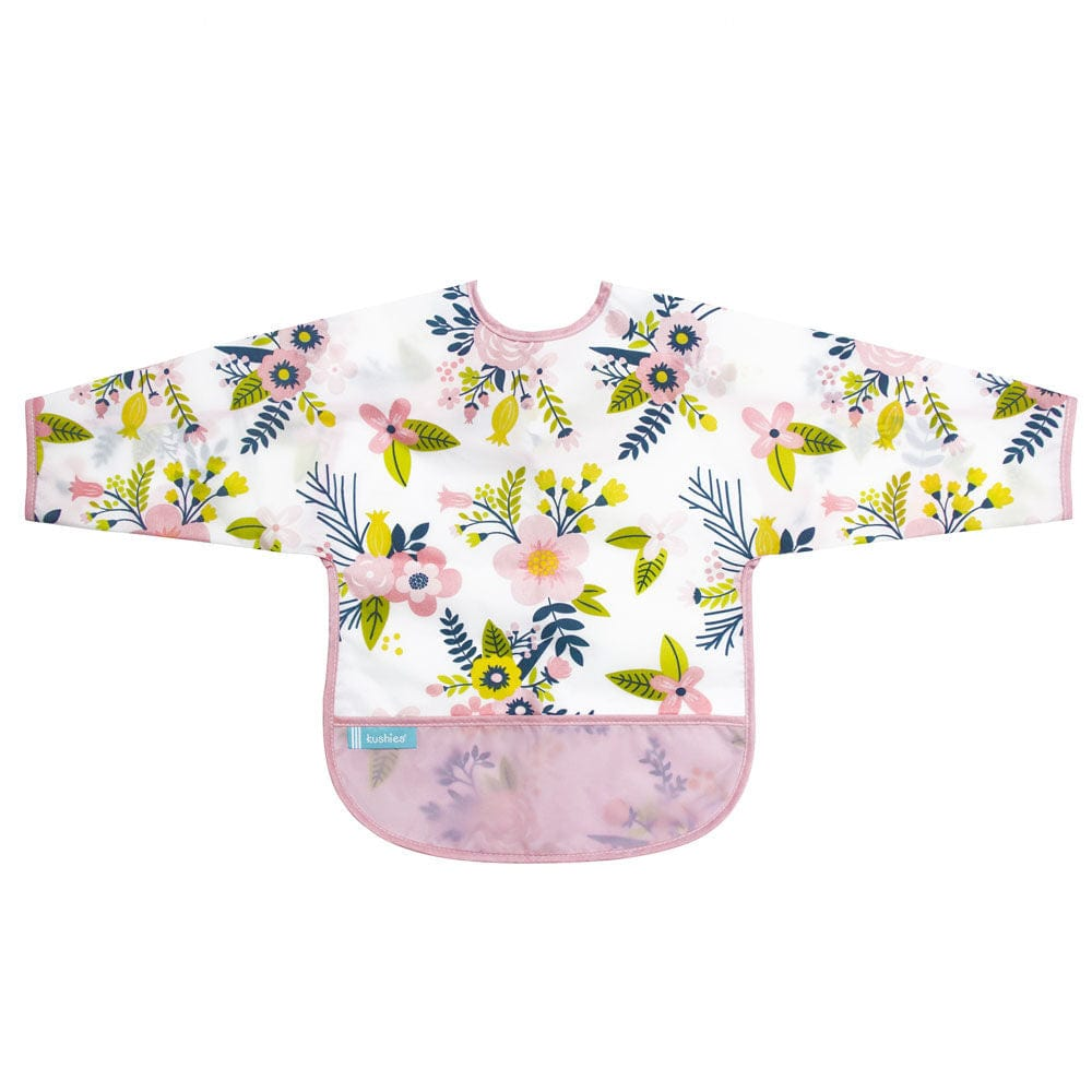 Kushies CleanBib with Sleeves - Pink Flowers