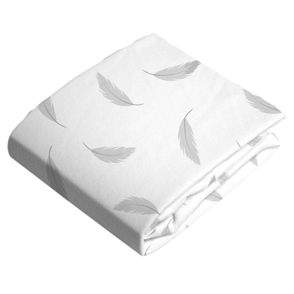 Grey Feathers - Kushies Flannel Fitted Bassinet Sheet