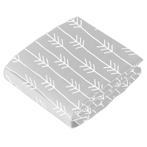 Light Grey Arrows - Kushies Flannel Crib Sheet