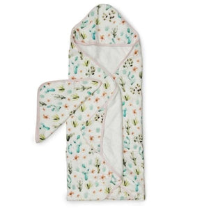 Loulou Lollipop Hooded Towel and Washcloth Set - Cactus Floral