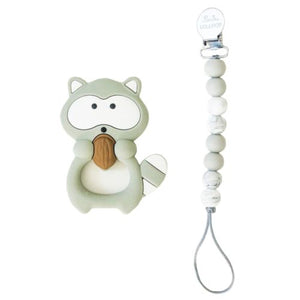 Loulou Lollipop Raccoon Silicone Teether Set