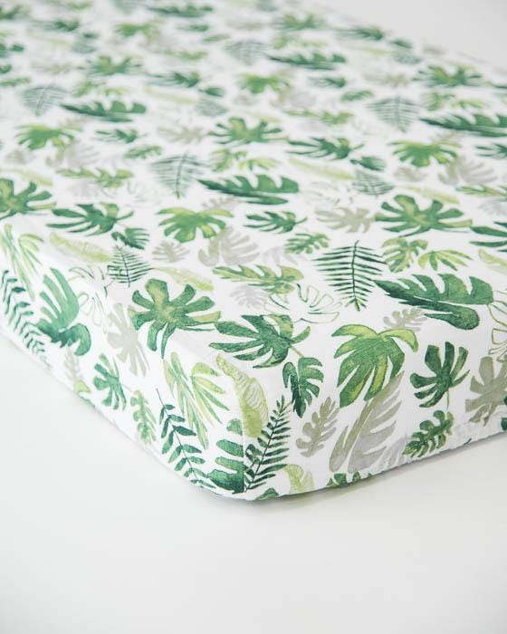 Little Unicorn Cotton Muslin Crib Sheet - Tropical Leaf