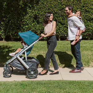 UPPAbaby VISTA V2 Stroller - Emmett (Green Melange/Silver/Saddle Leather) Lifestyle 2