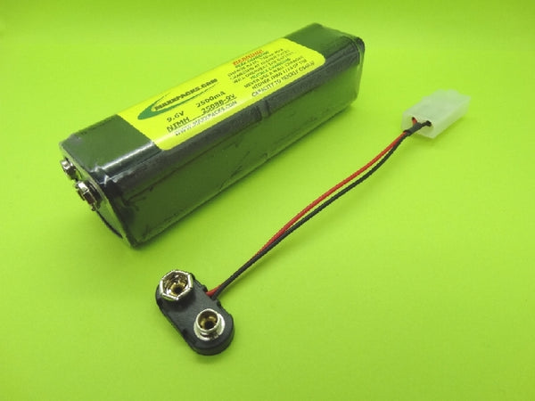 S2508B-9V 9.6v 2500mah TWICELL NiMH, 9v connector