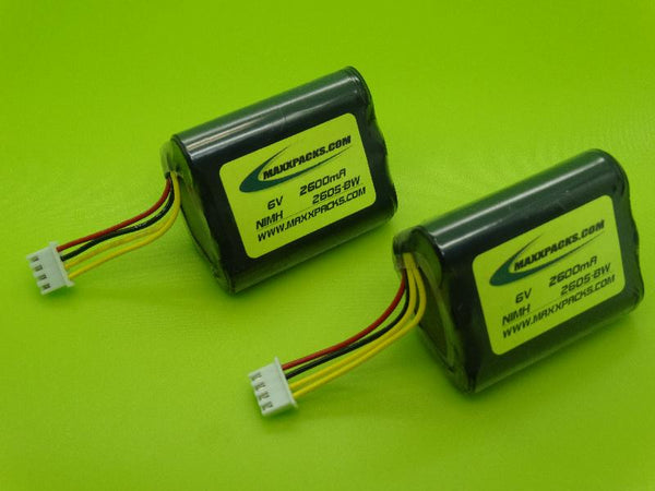 TWO 2605H-BW 6v 2600mah NiMH BATTERIES FOR BROOKSTONE PODZ WIRELESS SPEAKER