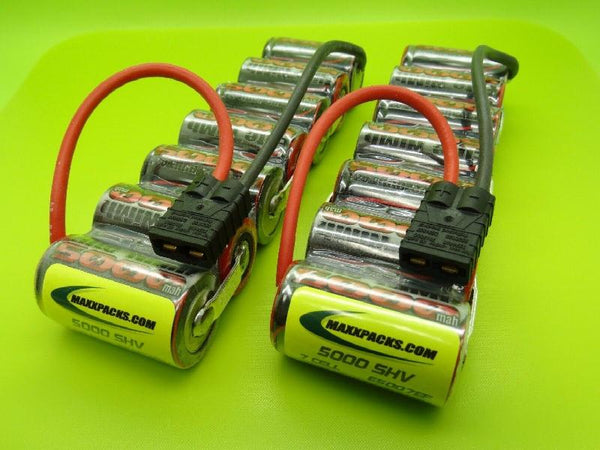 A Pair of 5007ESS 8.4v 5000 sub-C Traxxas Emaxx Battery Packs