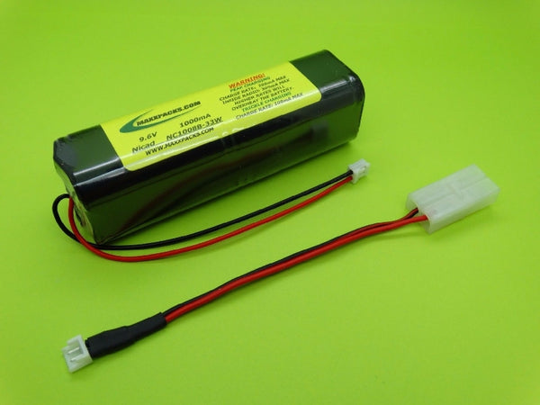 NC1008B-33W 9.6v 1000mah Nicad, new style JR white connector