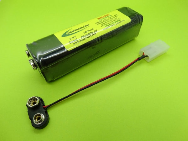 NC1008B-9V 9.6v 1000mah Nicad, 9v connector- for JR Tx