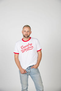 Country Western White/Red Ring Tee