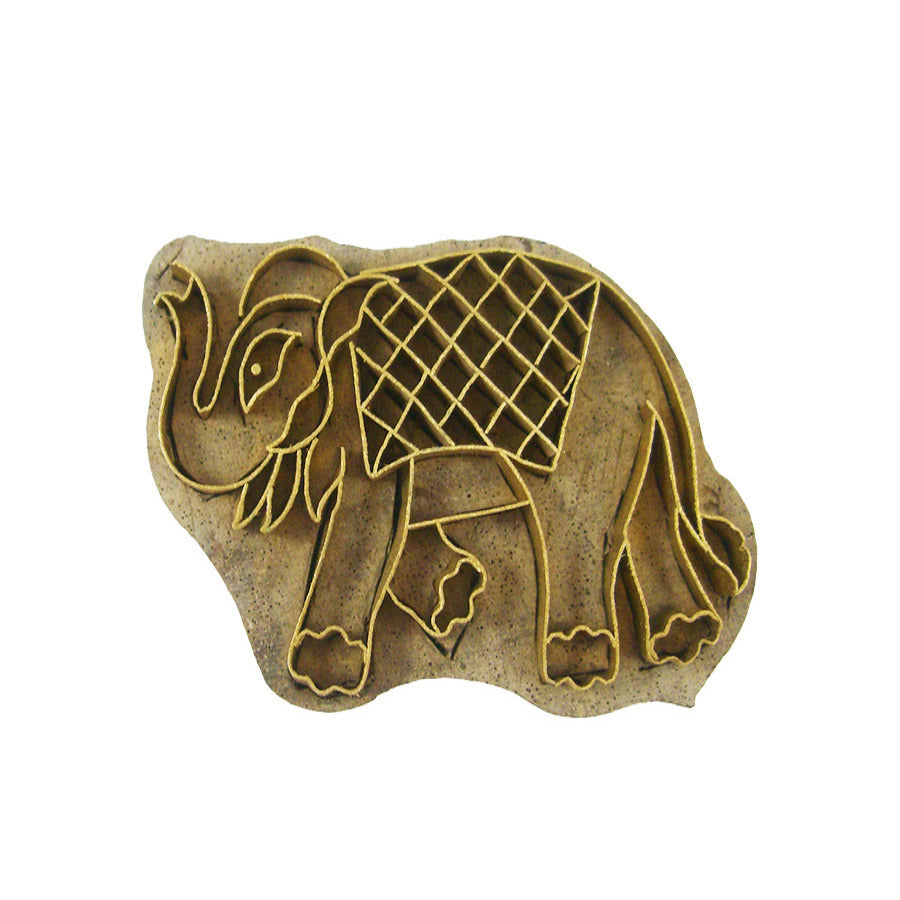 Messing Stempel, Elefant (Karo) - Wohnaccessoires Online Shop | Indigo Home