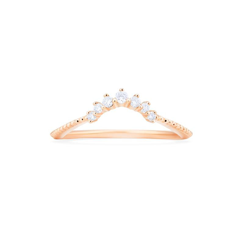 [Vera] 7-Diamond Curved Crown Band - Michellia Fine Jewelry