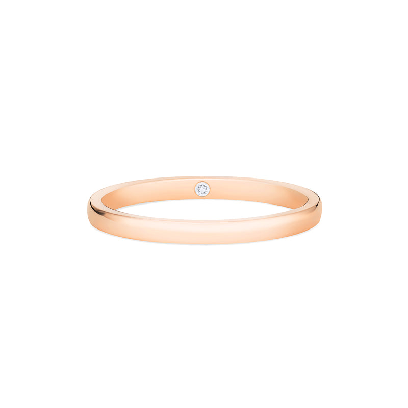 [Nora] Petite Classic Band with Hidden Diamond, 2mm - Wedding Band - Michellia Fine Jewelry