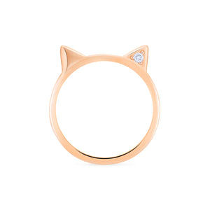 [Mia] Diamond Cat Ear Band - Wedding Band - Michellia Fine Jewelry