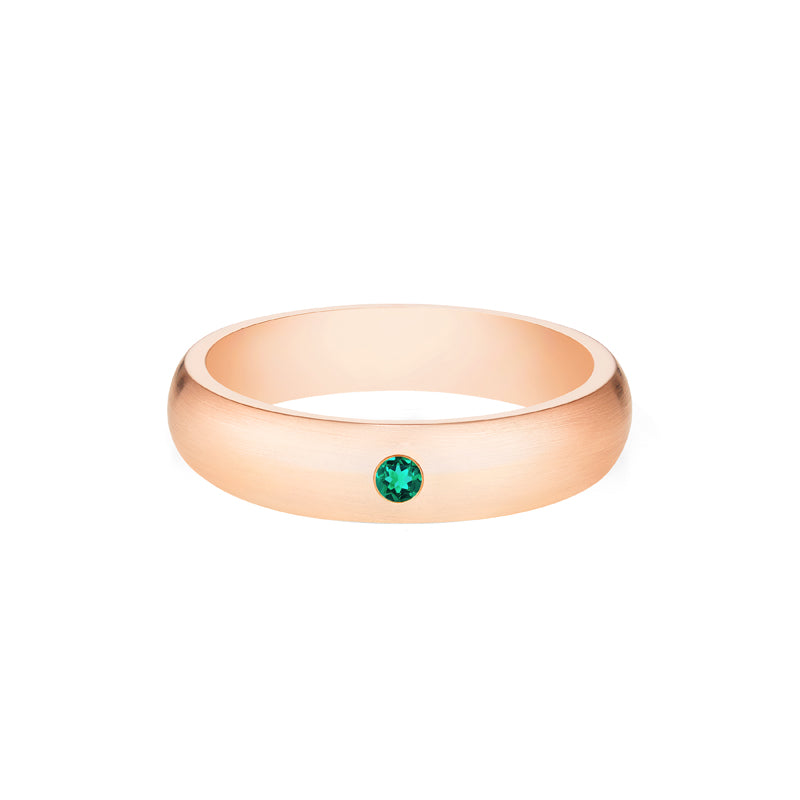 [Nolan] Men's Classic Comfort Fit Band with Outer Emerald, 5mm - Men's Band - Michellia Fine Jewelry