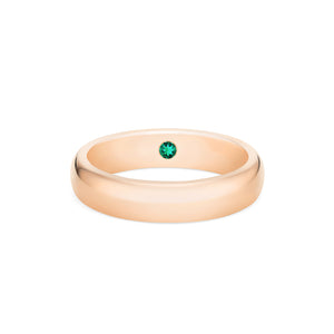 [Noah] Men's Classic Comfort Fit Band with Hidden Emerald, 5mm - Men's Band - Michellia Fine Jewelry