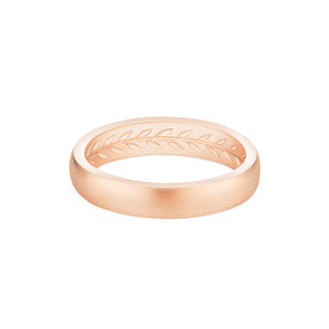[Florian] Men's Hidden Engraved Laurel Leaf Band - Men's Band - Michellia Fine Jewelry