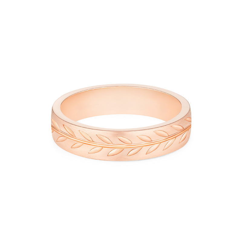 [Oliver] Men's Engraved Laurel Leaf Band - Men's Band - Michellia Fine Jewelry