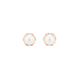 [Eden] Petite Floral Earrings in Akoya Pearl - Earrings - Michellia Fine Jewelry