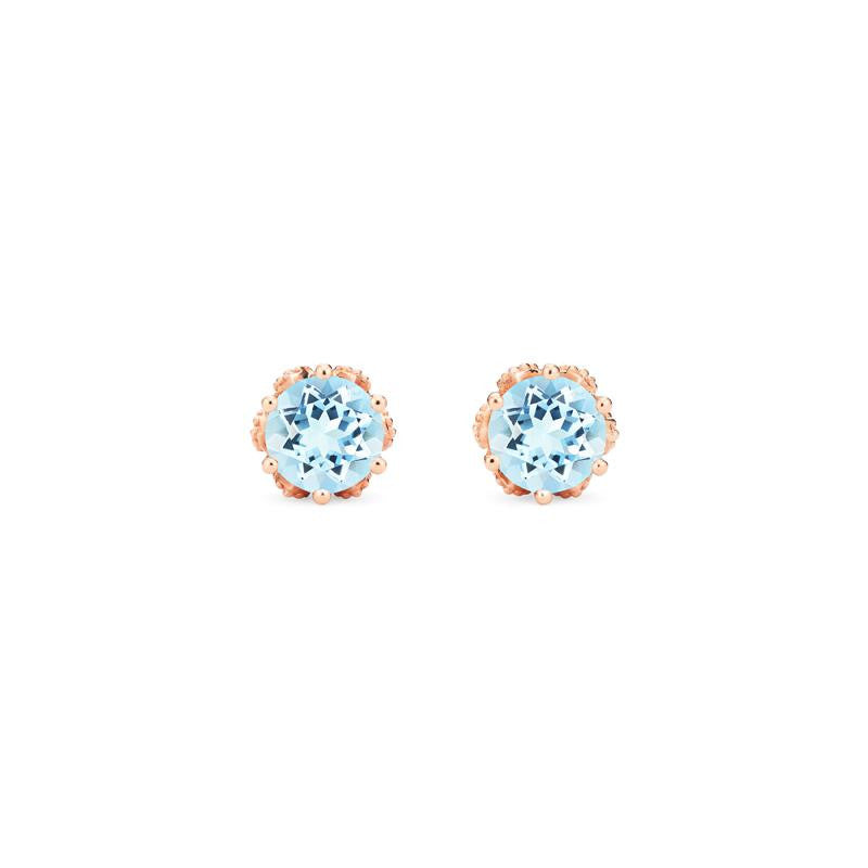 [Eden] Petite Floral Earrings in Aquamarine - Michellia Fine Jewelry