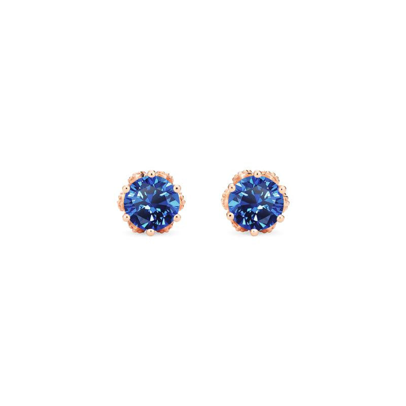 [Eden] Petite Floral Earrings in Lab Blue Sapphire - Earrings - Michellia Fine Jewelry