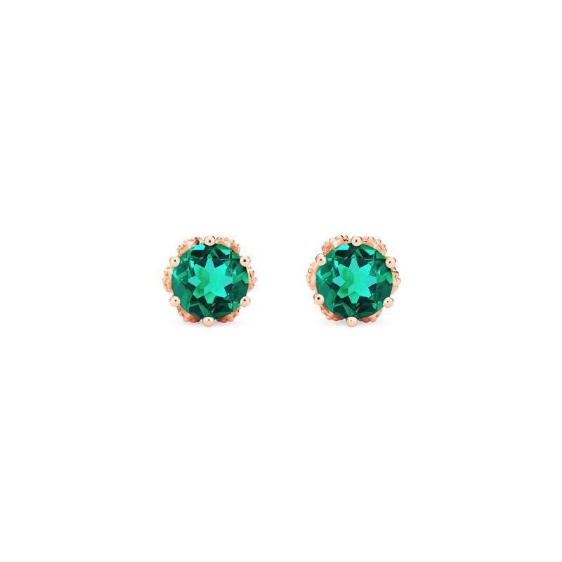 [Eden] Petite Floral Earrings in Lab Emerald - Earrings - Michellia Fine Jewelry