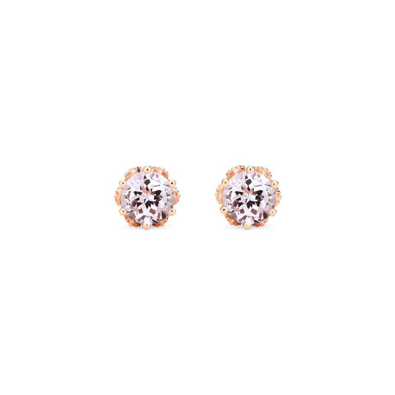 [Eden] Petite Floral Earrings in Morganite - Michellia Fine Jewelry