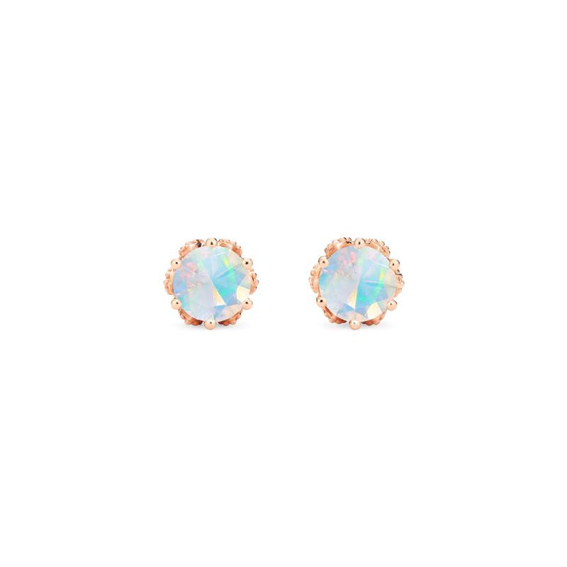 [Eden] Petite Floral Earrings in Opal