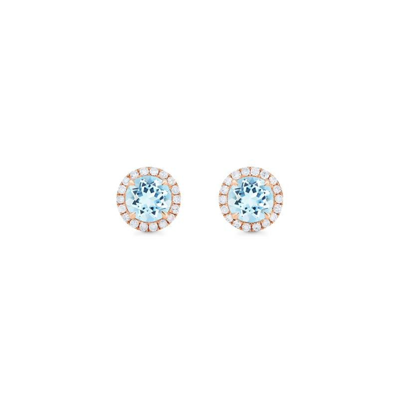 [Nova] Petite Halo Diamond Earrings in Aquamarine - Earrings - Michellia Fine Jewelry