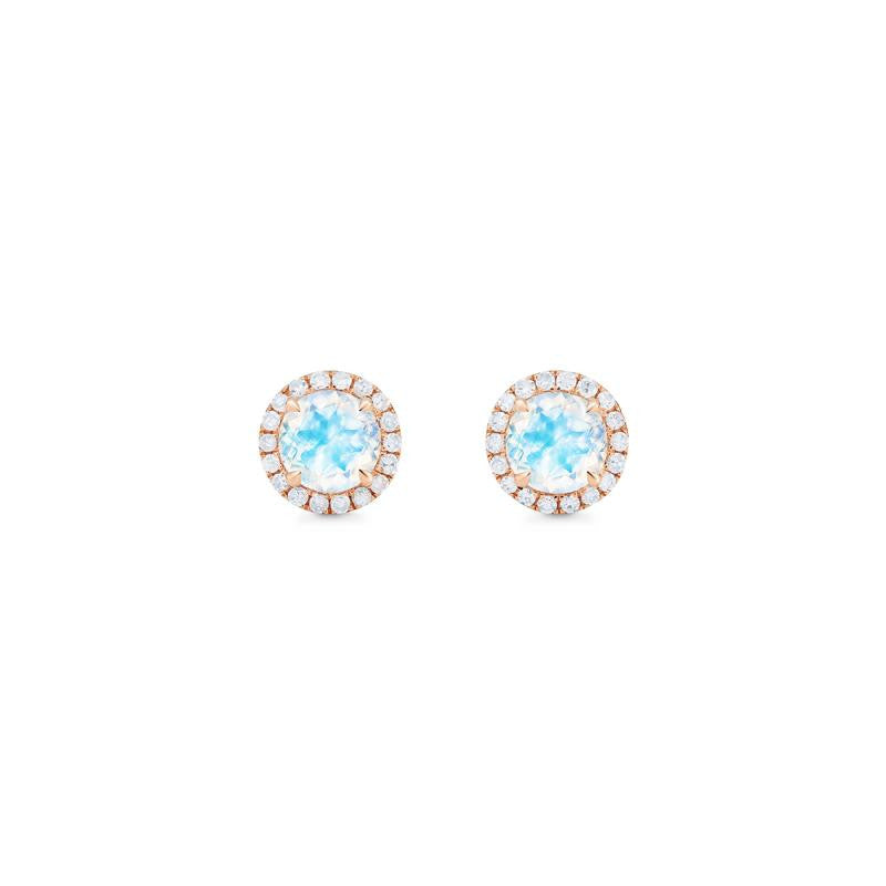 [Nova] Petite Halo Diamond Earrings in Moonstone - Earrings - Michellia Fine Jewelry