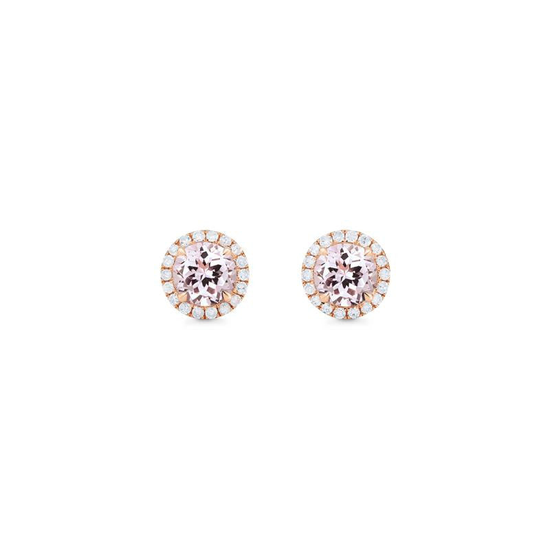 [Nova] Petite Halo Diamond Earrings in Morganite - Earrings - Michellia Fine Jewelry