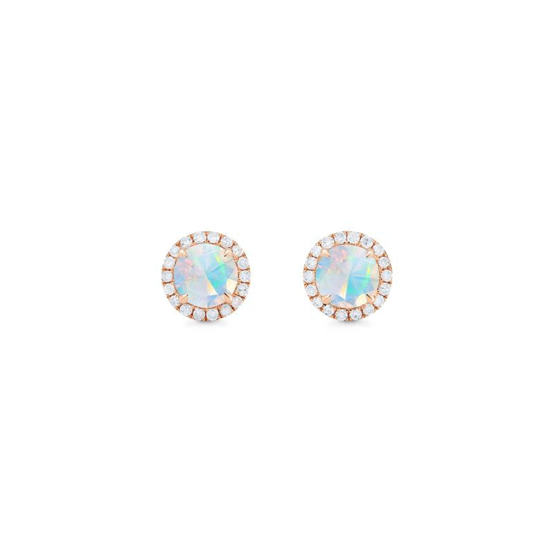 [Nova] Petite Halo Diamond Earrings in Opal - Earrings - Michellia Fine Jewelry