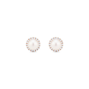 [Nova] Petite Halo Diamond Earrings in Akoya Pearl - Earrings - Michellia Fine Jewelry