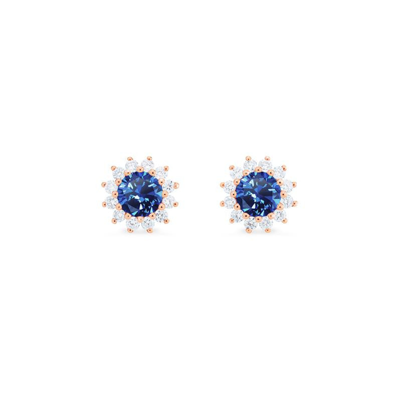 [Rosalie] Vintage Bloom Earrings in Lab Blue Sapphire - Earrings - Michellia Fine Jewelry