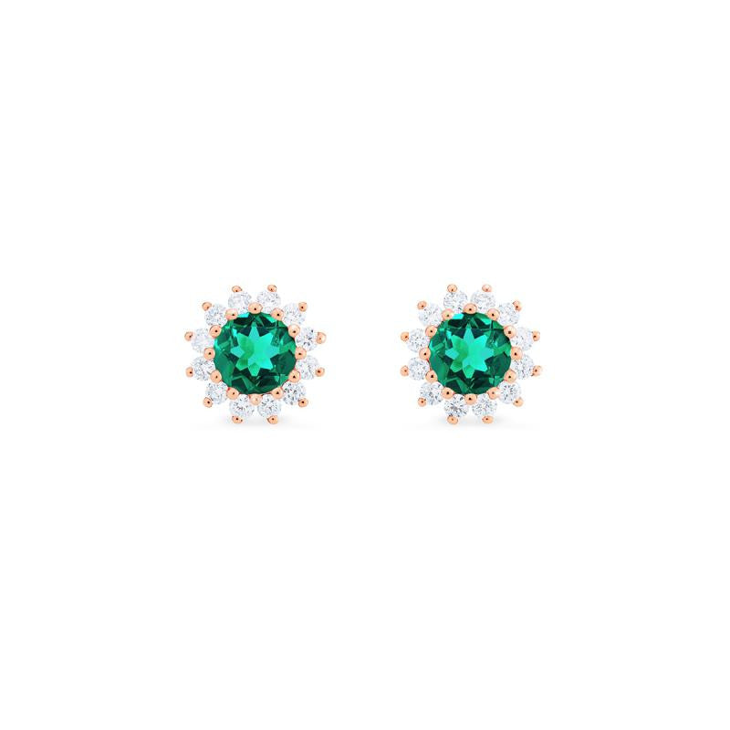[Rosalie] Vintage Bloom Earrings in Lab Emerald - Michellia Fine Jewelry