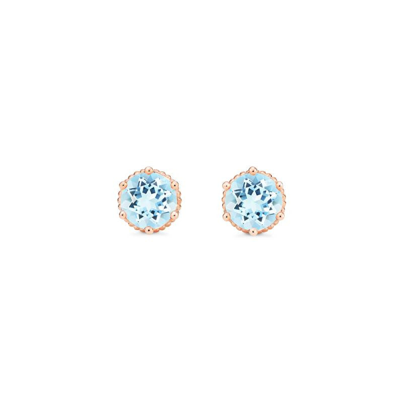 [Evelyn] Vintage Classic Crown Earrings in Aquamarine - Michellia Fine Jewelry