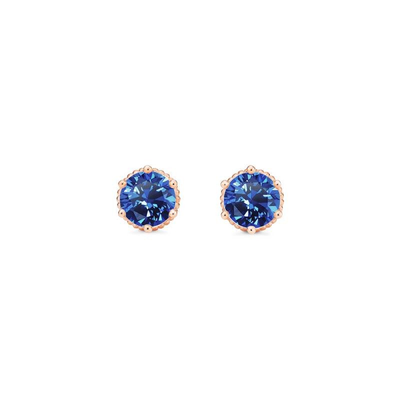 [Evelyn] Vintage Classic Crown Earrings in Lab Blue Sapphire - Michellia Fine Jewelry